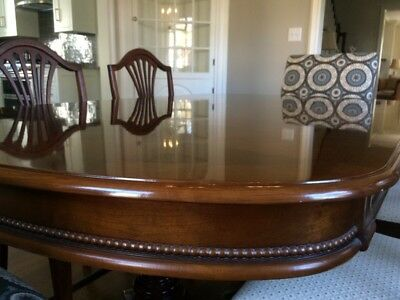 Mahogany Dining Table, Server, And Side Chairs