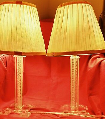 Pair Turn Of The Century Lucite Acrylic Lamps W/shades