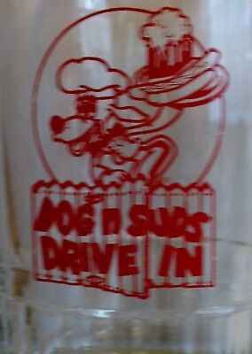 """Vintage Large """"dog N Suds Drive In""""  Root Beer / Soda Heavy 6"""" Tall Glass Mug"""