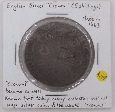 1663 English Great Britain Silver Crown (T940)