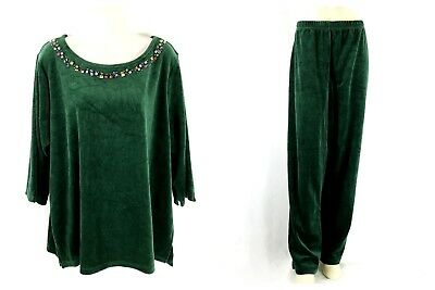 Quacker Factory Size 1X Bejeweled Velour Tunic & Pants Green 3/4 Sleeve QVC