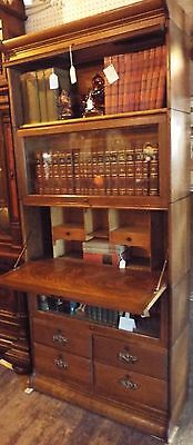 Unusual Antique quarter sewn Oak Barrister Bookcase Desk