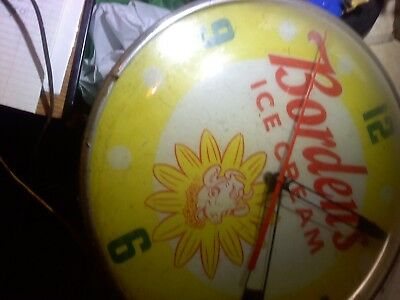 bordens ice cream round electric wall clock