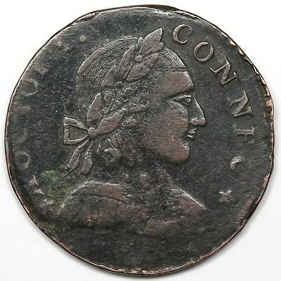1788 Connecticut Copper, Mailed Bust Right, VF detail