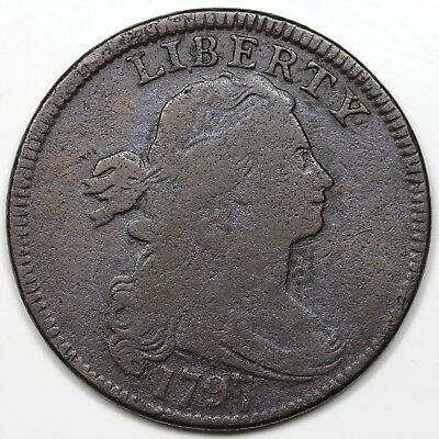 1797 Draped Bust Large Cent, Reverse of '97, Stems, VG detail