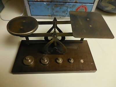 Vintage Brass Scale with 4 Weights and Wood Base
