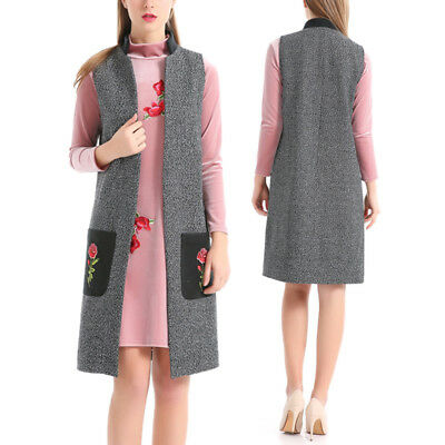 Casual Women Sleeveless Long Duster Coat Jacket Cardigan Vest Waistcoat Outwear