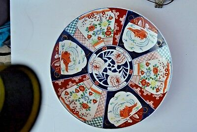 """Antique Japanese Hand Pained Huge 17.80""""d Imari Plate Charger Signed By Artist"""