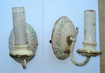2 Vintage Art Deco Brass Wall Sconces...for Parts or Restore... Some Color Left