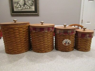 4 LONGABERGER Canister Set Orchard Park Plaid OPP Liners Protector Lids NICE