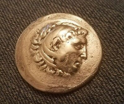 Rare size 35mm authentic ancient greek Alexander great tetradrachm silver coin