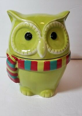 Harry & David Owl Cookie Jar Green with Holiday Winter Scarf 2012