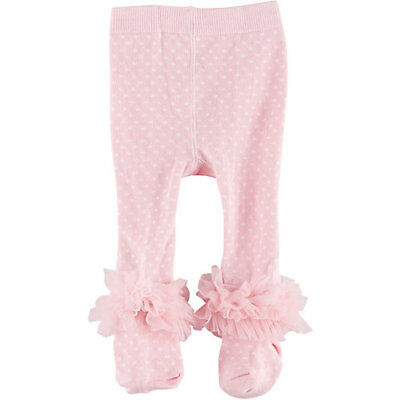 New LOVESPUN Baby Girls Polka Dots Cotton Ruffle Tights .. 0-6 months pink white