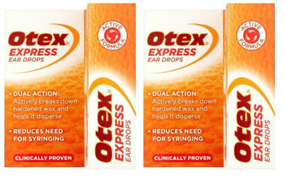2x OTEX EXPRESS EAR DROPS - REMOVES EAR WAX, GREAT VALUE FOR MONEY!