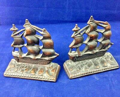 Vintage CONSTITUTION Ship BOOKENDS Cast Iron Brass Finish OLD IRONSIDES, Pair