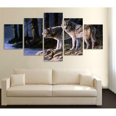 5Pcs Abstract Art Canvas Painting Wall Print Picture Decor- Wolf Couples- L