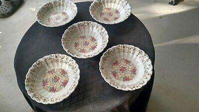 Lot of 5 Sebring Pottery Co. China Rose Bower Berry Desert Bowl 22 K Gold USA