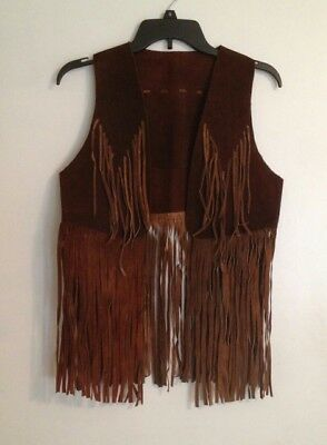 Women's Vintage Brown Genuine Suede Leather Boho Fringed Vest 1970's size S/M
