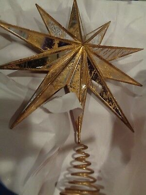 b389423625fd8 POTTERY BARN CHRISTMAS GOLD MIRRORED STAR Tree Topper large New wo ...