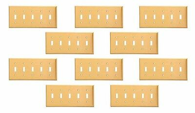 10 Switch Plate Brushed Solid Brass Five Toggle   Renovator's Supply