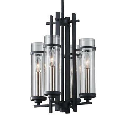 Feiss F2627/4AF/BS Ethan Chandelier In Antique Forged Iron / Brushed Steel