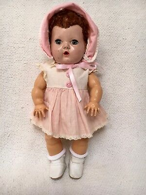 """American Character 11""""  Tiny Tears Doll Caracul Wig, Rubber Body-Free Shipping!"""