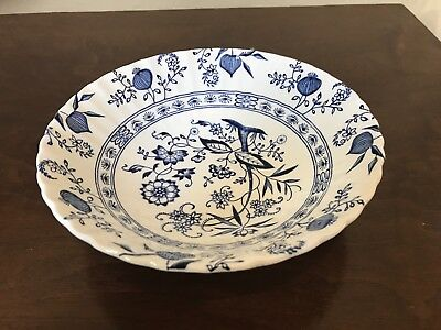 """J G Meakin Blue Nordic Onion Ironstone White Classic 8.5"""" Vegetable Serving Bowl"""