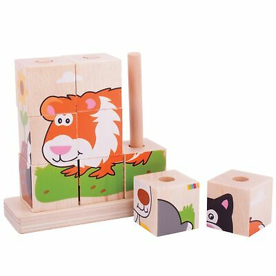 Bigjigs Baby Toys Wooden Stacking Blocks - Pets - From 12 Months