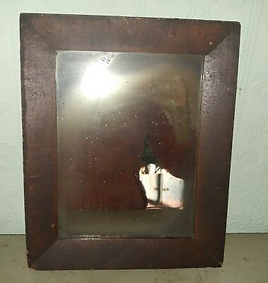 ANTIQUE EARLY 19th CENTURY DARK   WOOD  FRAMED  WALL MIRROR  SMALL WOOD BACK