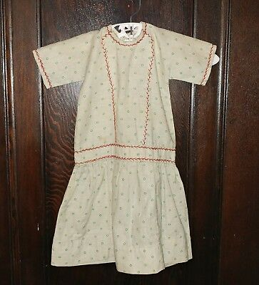 Early Handmade Antique Red and Green Calico Doll Dress German Bisque China