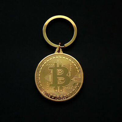 1PC BTC Keychain Gold Plated Bitcoin Physical Coin Pendant Keyring Gifts