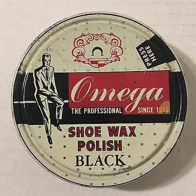 Vintage 1950s Omega Shoe Wax Polish Black Metal Can Tin Advertising Almost Full