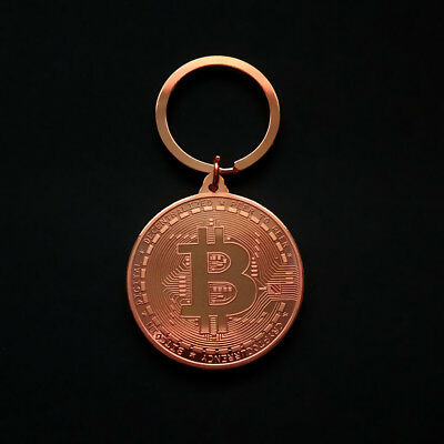 Keychain BTC Rose Gold Bitcoin Round Commemorative Coin Pendant Keyring