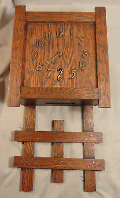 Antique Sessions Arts & Crafts Wooden Mission Style Wall Clock Estate Fresh