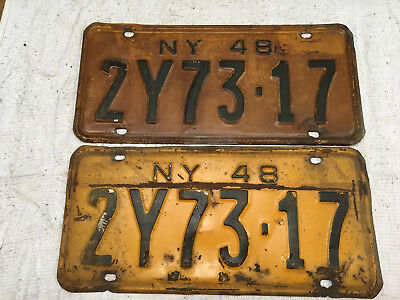 1948 New York license plate set (front-rear) pair