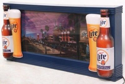 Miller Lite Beer Sign Coast to Coast 2 Desirable Motion Lighted Bar light