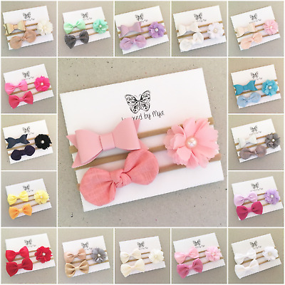 x3 Headband Baby Girl Toddler Newborn Bow Leather Fabric Floral Hair Accessory
