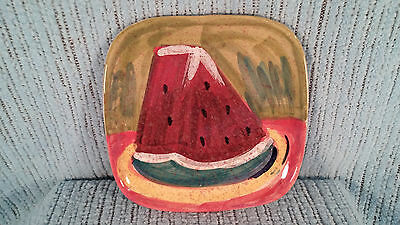 Vietri Square Fruit Plate Watermelon Made In Italy Hillsborough Nc 7 1/2 Inches
