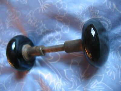 Very Nice Antique Black Porcelain Door Knobs