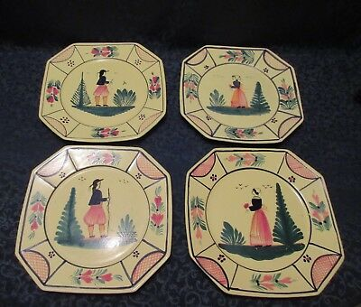 Four HB Quimper France Soleil Yellow Dinner Plates Male & Female (2 ea.)