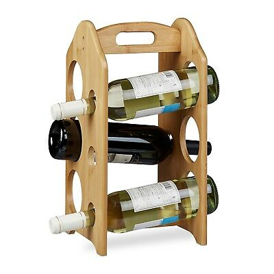Relaxdays Bamboo Wine Rack Holder for 6 Standard-Size Bottles with Handle and
