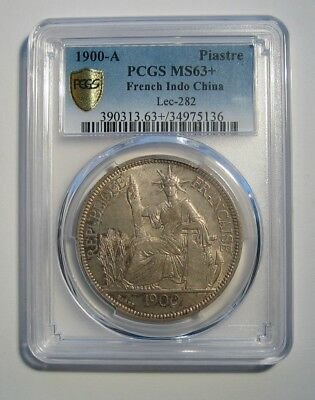 1900-A French Indo-China Silver 1 Piastre PCGS MS63+