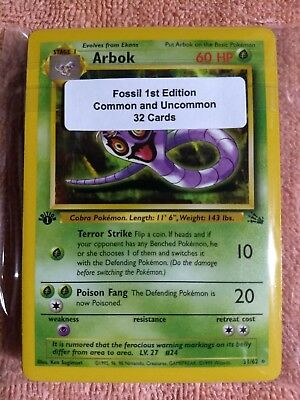 Pokemon Complete Set 32 Card 1st Edition FOSSIL Common and Uncommon NM