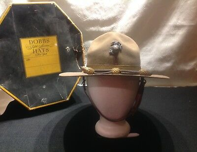 Ww1 Era Usmc Officers Campaign Hat With Chintrap And Officers Cord, Stetson.