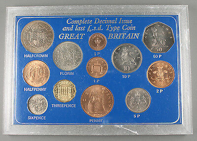 UK Britain LAST POUND SHILLING, COMPLETE DECIMAL ISSUES 12 Coin UNCIRCULATED SET