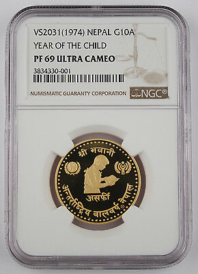 Nepal VS2031 1974 10 ASARPHI Gold Coin NGC PF69 UC Year of Child .3374 Oz AGW