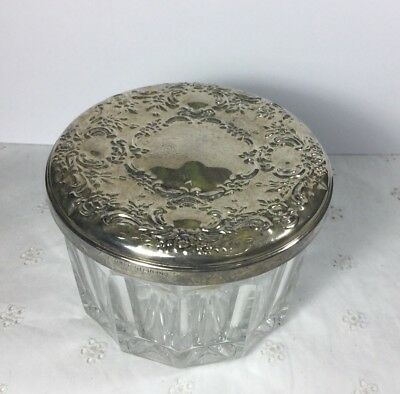 Vintage Towle Lead Crystal Jar With Sterling Silver Embossed Lid Powder Dresser.