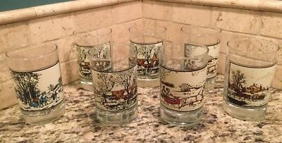 Vintage 7 UNUSED 1981 NEW Arby's Currier & Ives Winter HIGH BALL Glasses