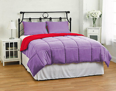 Super Soft Down Alternative Reversible Solid Comforter Set, Twin/Queen/King Size