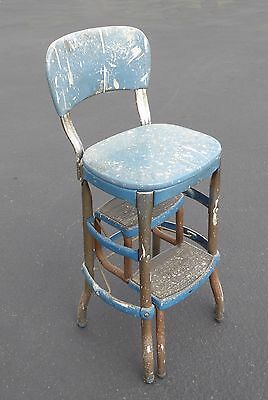 Unique Vintage Blue Metal Farmhouse Rustic Industrial Step STOOL Chair made USA